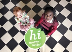NO REPRO FEE 28/3/2013 Healthy Ireland Launch. Six-year-old Semi Oluborode, right, from Blanchardstown and four-year-old Evie McKibben from Drumcondra are pictured at the Mansion House for the launch of Healthy Ireland, a new Government framework to improve Ireland's health and well being, which was also attended by Minister for Health, Dr. James Reilly TD. Photo: Mark Stedman/Photocall Ireland