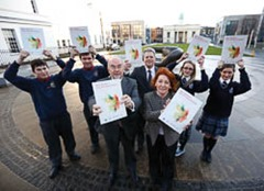 No Repro Fee. Pictured at the launch of the 'Well being in post primary schools' new national guidelines are: Minister for Education and Skills, Ruairí Quinn TD, Gerry Raleigh, Director of the HSE's National Office for Suicide Prevention and the Minister of State for Disability, Older People, Equality and Mental Health, Kathleen Lynch TD  and pupils from O'Connell's Secondary School and Mount Carmel Secondary School David Shaughnessy, age 17 and  Mihai Cadere, age 18  from O'Connell's School, North Richmond Street, Dublin 1 Julieanne Murphy, age 16 and Nadine Connors, age 16 Mount Carmel Secondary School, Kings Inn Street, Dublin 1.   Pic: Robbie Reynolds/CPR.   ENDS  Enda Saul, HSE Communications: 087 2912478