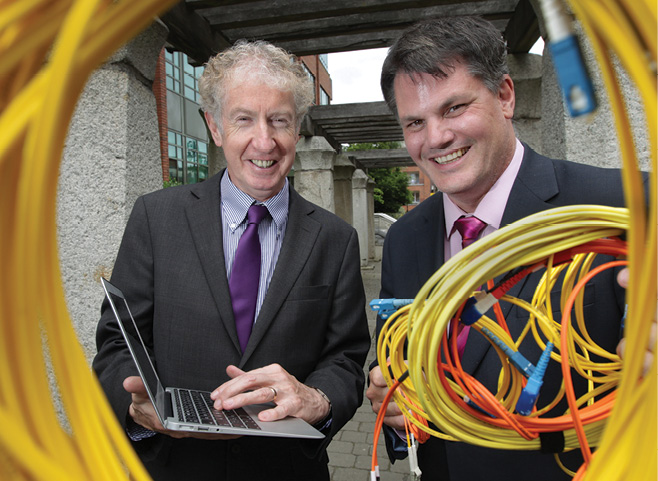 HEAnet Chief Executive John Boland and Agile Networks managing director Darragh Richardson announce a seven year deal worth €5 million to deliver an ultra-high bandwidth network for one million students and staff across Ireland's education and research sector.