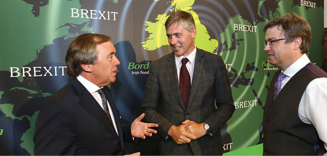 Pictured at Bord Bia's Brexit briefing are (l-r)  Larry Murrin, Chief Executive, Dawn Farm Foods; Padraig Brennan, Director of Markets, Bord Bia; and James Walton, Chief Economist, IGD.