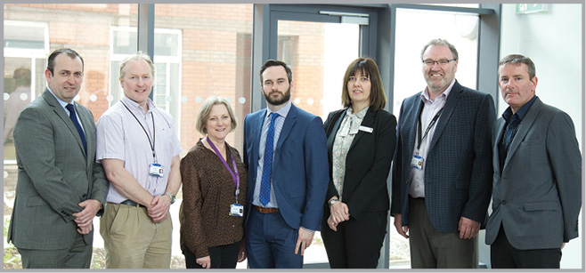 SJH Scan for Surgery Steering Group from L to R: Vincent Callan, Director of Facilities; Niall Hogan, Orthopaedic Consultant; Jeanne Moriarty, Clinical Director; John Cotter, Programme Director ABF (activity based funding); Una Geary, Director of Quality and Safety Improvement; Neil O'Hare, Director of Informatics; Greg Magrane, Project Manager. Missing from the photo are: Simon Moores, Director of Finance; Fiona Murphy, ADON DSC/Theatre Services.
