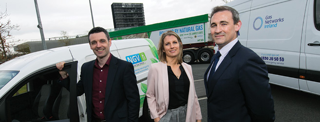 Rodger O'Connor, Commercial Innovation Analyst; Julie McGrath, CNG Commercial Engineer; and Dan FitzPatrick, Commercialisation Manager, Gas Networks Ireland.