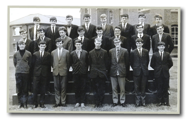 Leaving Cert class 1966, Brendan McGrath back row third in from the right.
